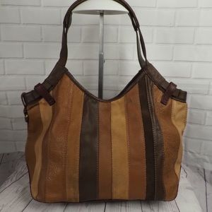 Lucky Brand brown tan patchwork strip leather hobo